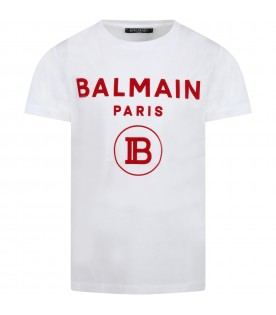 White T-shirt for kids with red double logo