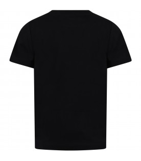 Black T-shirt for kids with red logo