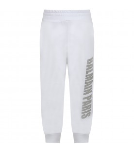 White sweatpants for kids with logo