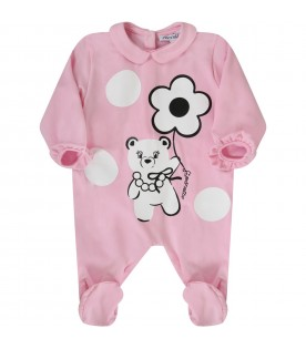 Pink babygrow for babygirl with bears