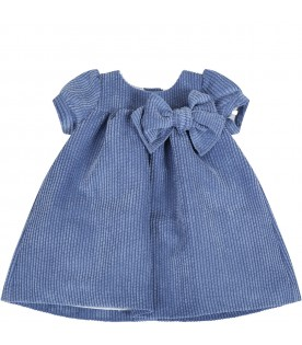 Light blue dress for babygirl with bow