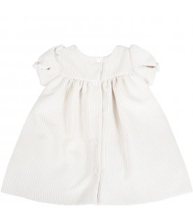 Beige dress for babygirl with bow
