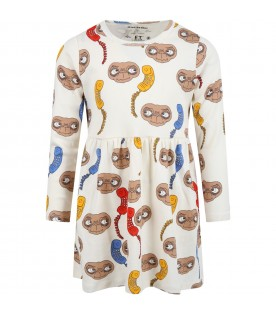 Ivory dress for girl with colorful E.T.