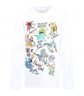 White T-shirt for boy with dragons