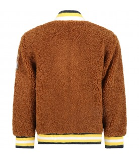 Brown jacket for boy with patches
