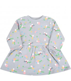 Light blue dress for babygirl with mouses