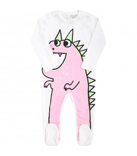 White babygrow for babygirl with dragon