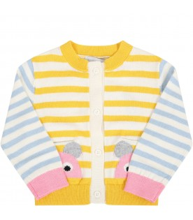 Multicolor cardigan for babygirl with mouses