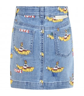 Denim skirt for girl with submarine