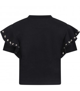 Black T-shirt for girl with studs