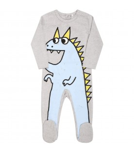 Grey babygrow for babygirl with dragon