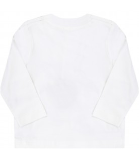White T-shirt for babykids with dragon