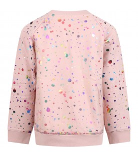 Pink sweatshirt for girl with polka-dots