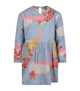 Light blue dress for girl with prints