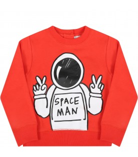 Red sweatshirt for babyboy with spaceman