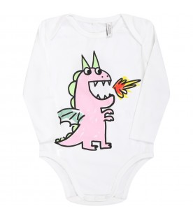 White suit for babykids with dragons