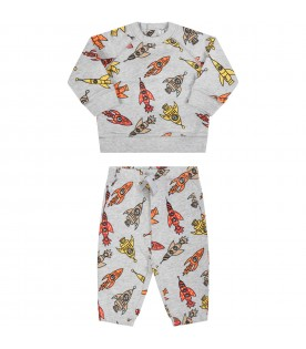Grey tracksuit for babyboy with rockets