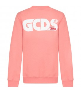 Pink sweatshirt for girl with logo