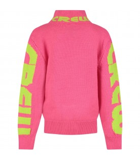 Fuchsia turtleneck for girl with logo