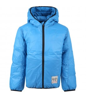 Light blue jacket for kids with logo