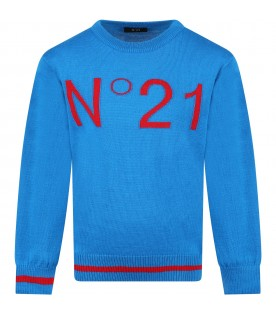 Light blue sweater for kids with logo