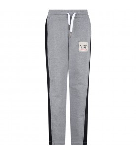 Grey sweatpants for kids with logo