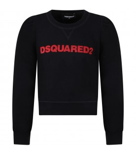 Black sweatshirt for girl with red logo
