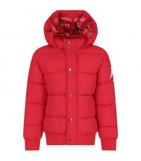 Red jacket for boy with logo
