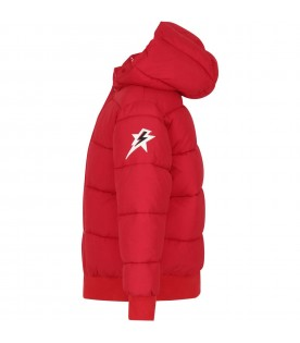 Red jacket for kids with logo