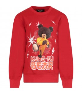Red sweatshirt for boy with print