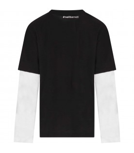 Black T-shirt for boy with print
