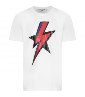 White T-shirt for kids with thunder