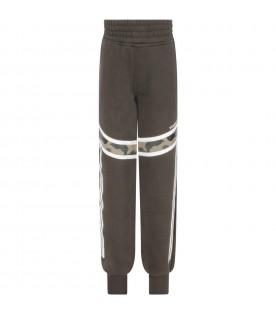 Green sweatpants for boy with logo