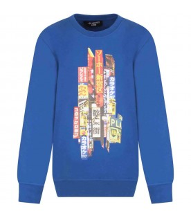 Light blue sweatshirt for kids with print