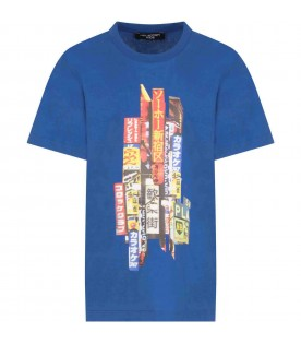 Light blue T-shirt for kids with print