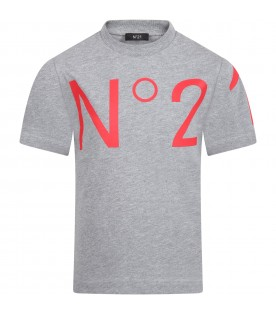 Grey T-shirt for kids with logo