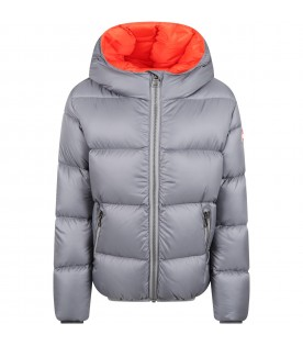 Grey jacket for kids with logo