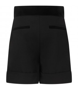 Black short for girl with buttons