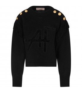Black sweater for girl with logo