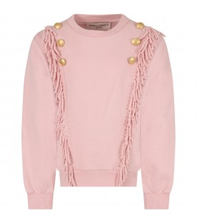 Pink swatshirt for girl with logo
