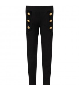 Black pants for girl with buttons