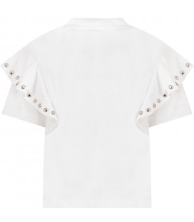 White T-shirt for girl with studs