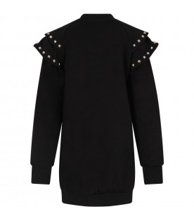 Black dress for girl with studs