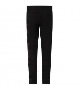 Black pants for girl with logo