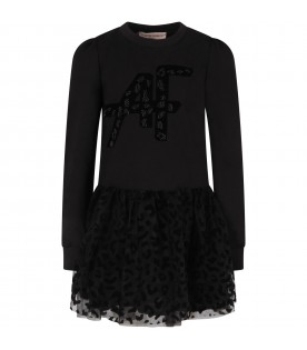 Black dress for gilr with logo