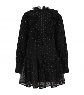 Black dress for girl with polka-dots