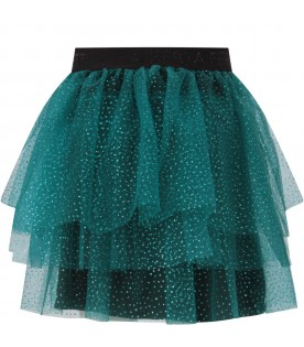 Green skirt for girl with polka-dots