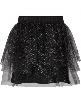 Black skirt for girl with polka-dots