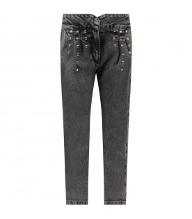 Grey jeans for girl with studs