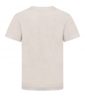 Beige T-shirt for kids with logo